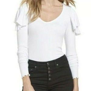 NWT We the Free Ruffle Shoulder Lettuce Hem Women's White Long Sleeve Top